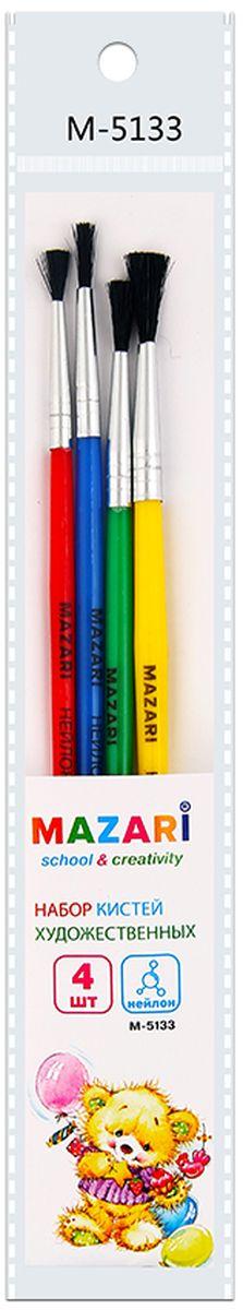 Mazari Набор кистей из нейлона №1, 2, 3, 4 (4 шт)М-5133Набор художественных кистей «Mazari» идеально подойдет для художественных и декоративно-оформительских работ. Щетина изготовлена из нейлона.Такие кисти прекрасно подойдут для масляных красок и акрила. В набор входят кисти № 1, 2, 3, 4.