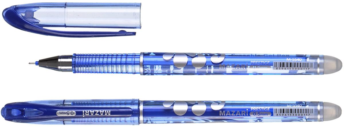 Mazari Ручка гелевая Prestige со стираемыми чернилами цвет синий + 2 стержня72523WDРучка гелевая со стираемыми чернилами + 2 стержня Prestige, СИНЯЯ, игольчатый пиш.узел 0.5мм, корпус пластиковый цветной, блистерная упаковка