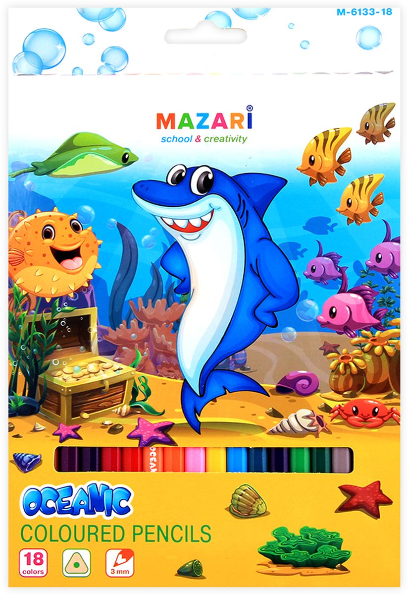 Mazari Набор цветных карандашей Oceanic 18 цветов180FSBK3-1Карандаши цветные Mazari Oceanic имеют эргономичную трехгранную форму корпуса.Карандаши поставляются с заточенным грифелем. Цветные карандаши имеют яркие насыщенные цвета. В наборе: 18 разноцветных карандашей. Карандаши легко затачиваются.С цветными карандашами Oceanic ваши дети будут создавать яркие и запоминающиеся рисунки.
