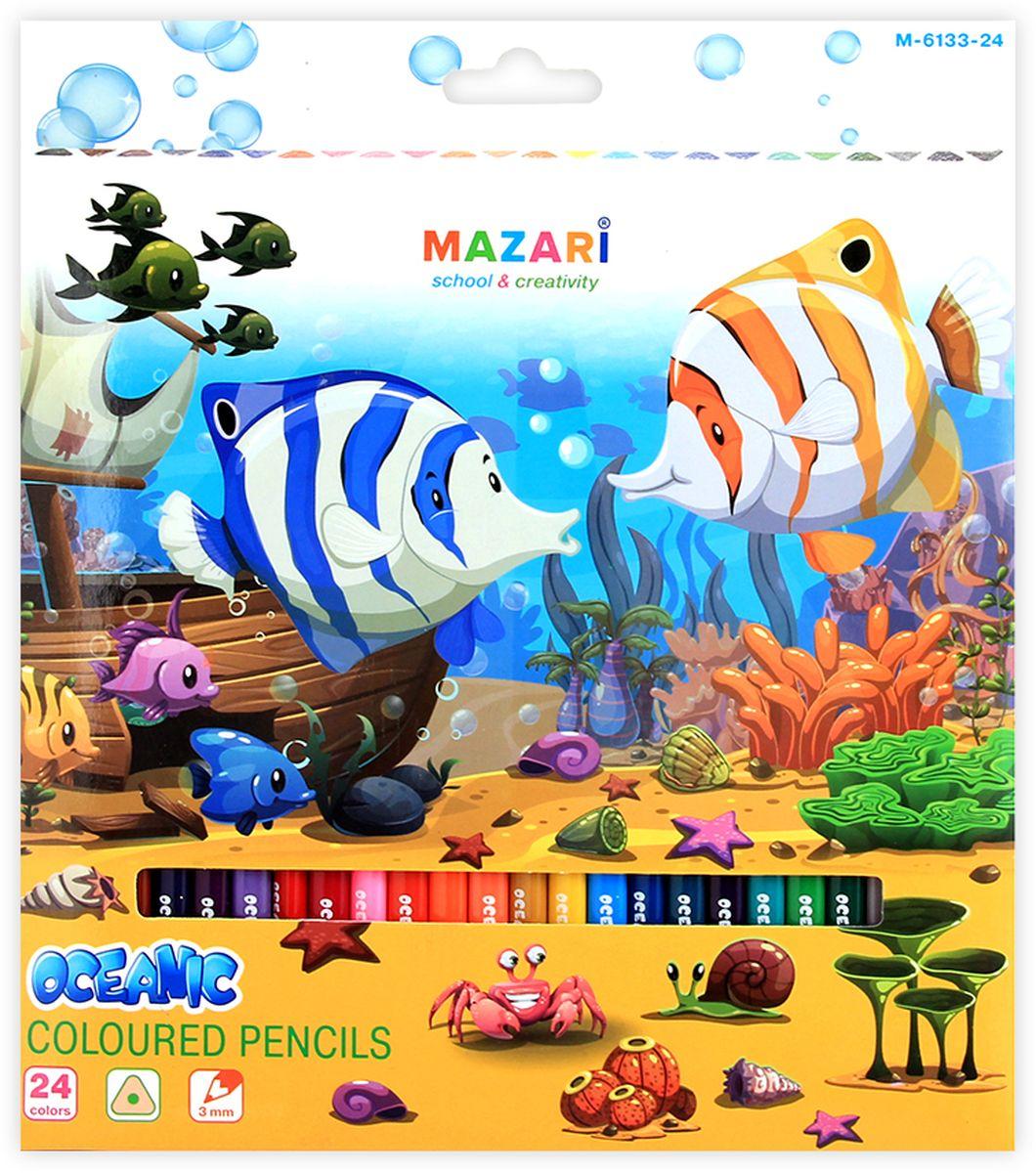 Mazari Набор цветных карандашей Oceanic 24 штМ-6133-24Карандаши цветные Mazari Oceanic имеют эргономичную трехгранную форму корпуса.Карандаши поставляются с заточенным грифелем. Цветные карандаши имеют яркие насыщенные цвета. В наборе 24 карандаша. Карандаши легко затачиваются.С цветными карандашами ваши дети будут создавать яркие и запоминающиеся рисунки.