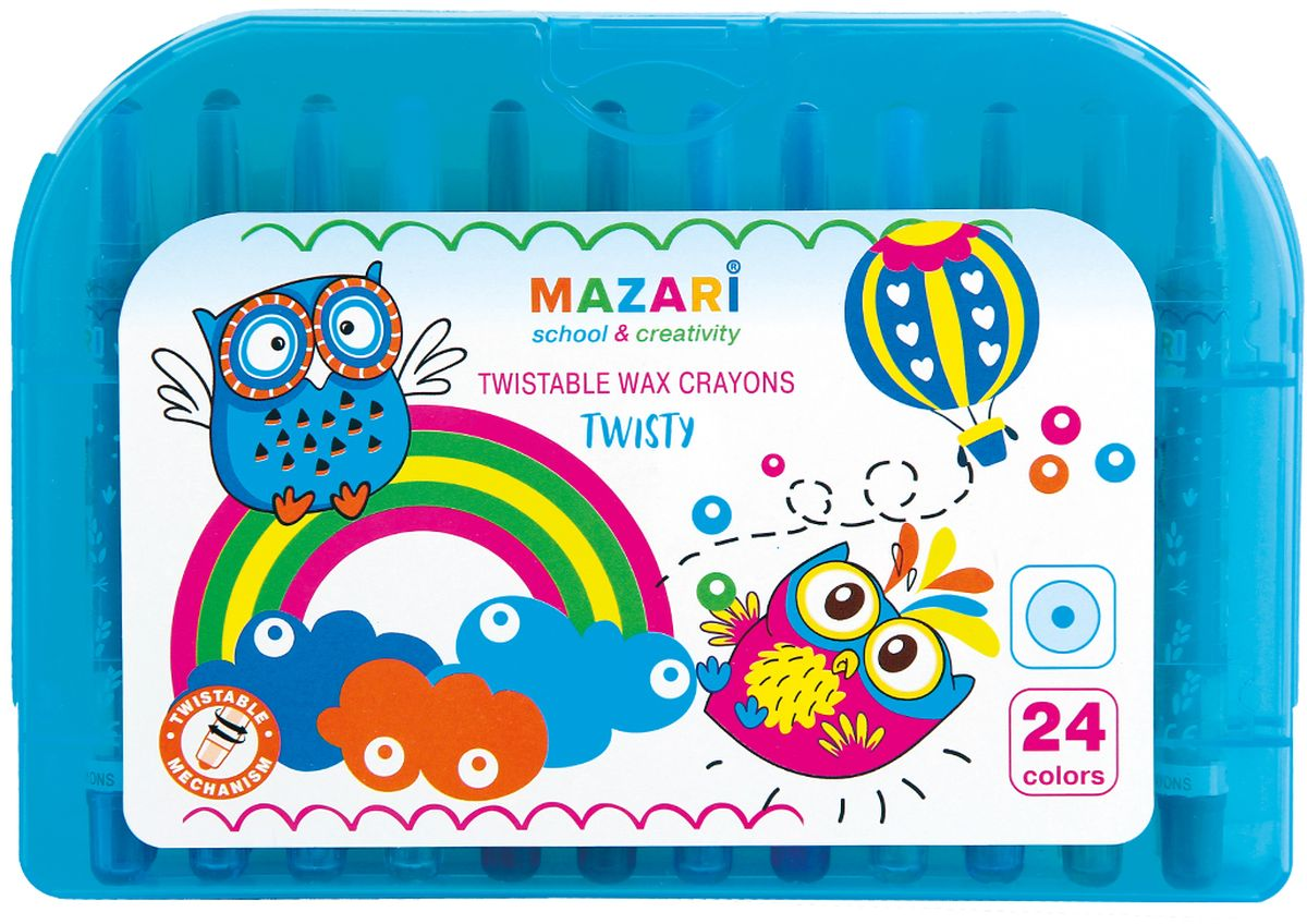 Mazari Мелки восковые Twisty 24 цвета0775B001Набор Mazari Twisty содержит 24 мелка ярких насыщенных цветов. Каждый мелок имеет круглую форму с поворотным механизмом. Мелки обеспечивают удивительно мягкое письмо, позволяющее легко закрашивать большие площади. Мелки предназначены для рисования по бумаге, картону, керамике, дереву. Не токсичны и абсолютно безопасны для детей. Все мелки аккуратно сложены в пластиковый чемоданчик.Восковые мелки Mazari откроют юным художникам новые горизонты для творчества, а также помогут отлично развить мелкую моторику рук, цветовое восприятие, фантазию и воображение, способствуют самовыражению.