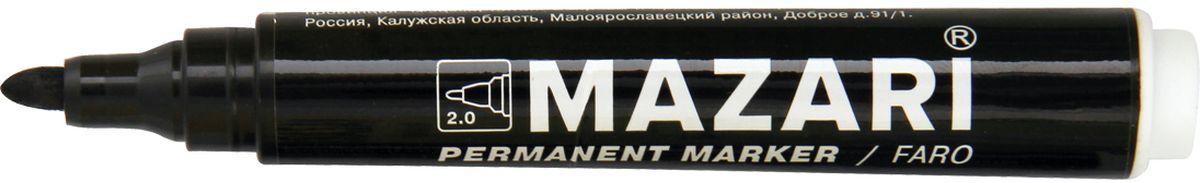 Mazari Маркер перманентный Faro цвет черныйFS-36052Маркер Mazari Faro подходит для письма на любых поверхностях. Маркер имеет пулевидную форму наконечника. Толщина линии - 2,0 мм.