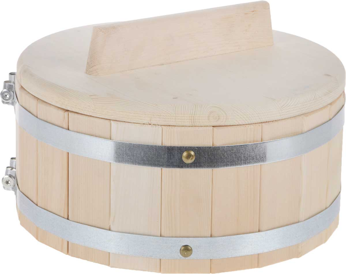 Кадка для бани Доктор Баня, 5 л. 832741188Кадка Доктор Баня, изготовленная из кедра, доставит вам настоящее удовольствие от банной процедуры. При запаривании веник обретает свою природную силу и сохраняет полезные свойства. Корпус кадки состоит из металлических обручей стянутых клепками. Для более удобного использования кадка снабжена крышкой с ручкой.Высота кадки (с учетом крышки): 19,5 см.Диаметр кадки: 30,5 см. Объем: 5 л.