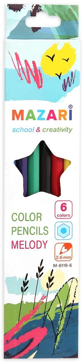 Mazari Набор цветных карандашей Melody 6 цветов2010440Карандаши цветные Mazari Melody предназначены для письма, рисования и черчения.Карандаши имеют шестигранную форму, диаметр грифеля - 2,6 мм.В наборе 6 карандашей ярких цветов.