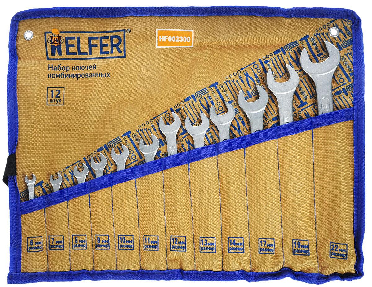 Набор комбинированных гаечных ключей Helfer, 12 предметов98295719Набор Helfer включает 12 комбинированных гаечных ключей, выполненных из качественной стали. Благодаря правильному подбору материала и параметров технологического процесса ключи выдерживают высокие нагрузки, устойчивы к истиранию рабочих граней. Применяются для работ с шестигранным крепежом. Комбинированный гаечный ключ - незаменимый инструмент при сборке и разборке любых металлических конструкций. Он сочетает в себе рожковый и накидной гаечные ключи. Первый нужен для работы в труднодоступных местах, второй более эффективен при отворачивании тугого крепежа. Для хранения набора предусмотрен текстильный чехол-органайзер.