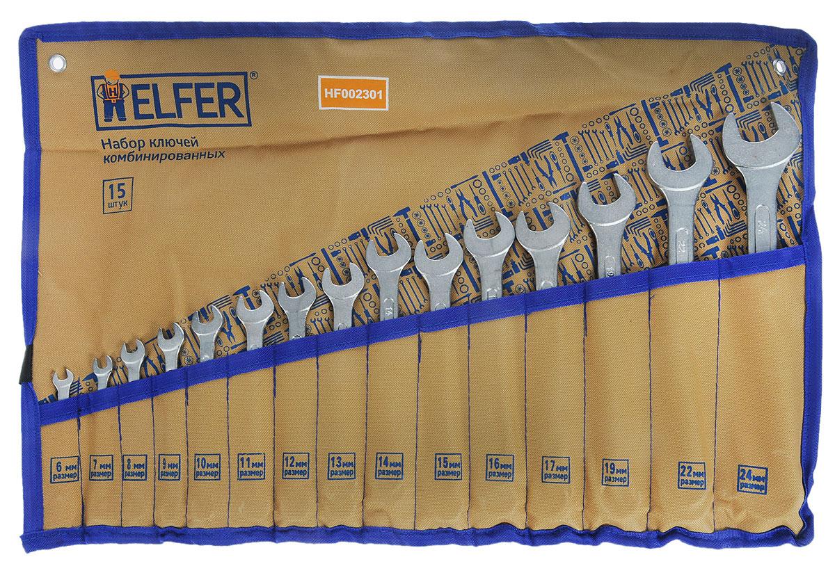 Набор комбинированных гаечных ключей Helfer, 15 предметовHF002301Набор Helfer включает 15 комбинированных гаечных ключей, выполненных из качественной стали. Благодаря правильному подбору материала и параметров технологического процесса ключи выдерживают высокие нагрузки, устойчивы к истиранию рабочих граней. Применяются для работ с шестигранным крепежом. Комбинированный гаечный ключ - незаменимый инструмент при сборке и разборке любых металлических конструкций. Он сочетает в себе рожковый и накидной гаечные ключи. Первый нужен для работы в труднодоступных местах, второй более эффективен при отворачивании тугого крепежа. Для хранения набора предусмотрен текстильный чехол-органайзер.