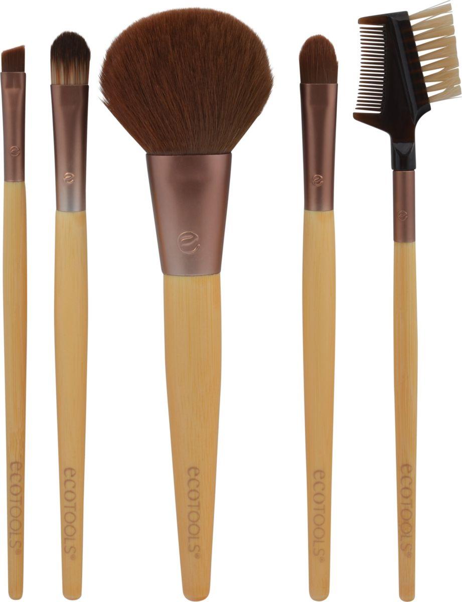 EcoTools Набор кистей для макияжа 6-piece Brush Set - Multilingual28032022В набор входят кисть для нанесения корректора, растушевки теней, для подводки, для ресниц и бровей, и удобный клатч, который можно использовать для хранения кистей и декоративной косметики. Мягкий синтетический ворс, основание из переработанного алюминиевого материала и гладкая бамбуковая ручка делают кисти удобными в использовании и прочными.