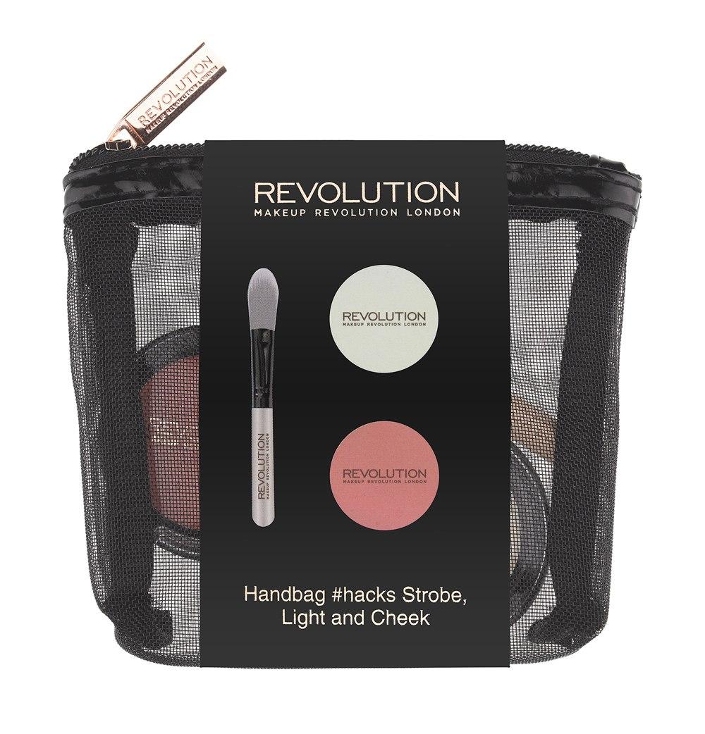 Makeup Revolution Набор для макияжа Handbag #hacks Strobe Light & Cheek28032022Набор, который сделает любой образ ослепительным! Кремовый хайлайтер нежного молочного оттенка, универсальные коралловые румяна и мини-кисть для их нанесения и растушевки - в стильной компактной косметичке. Отличный повод порадовать подругу или себя любимую!