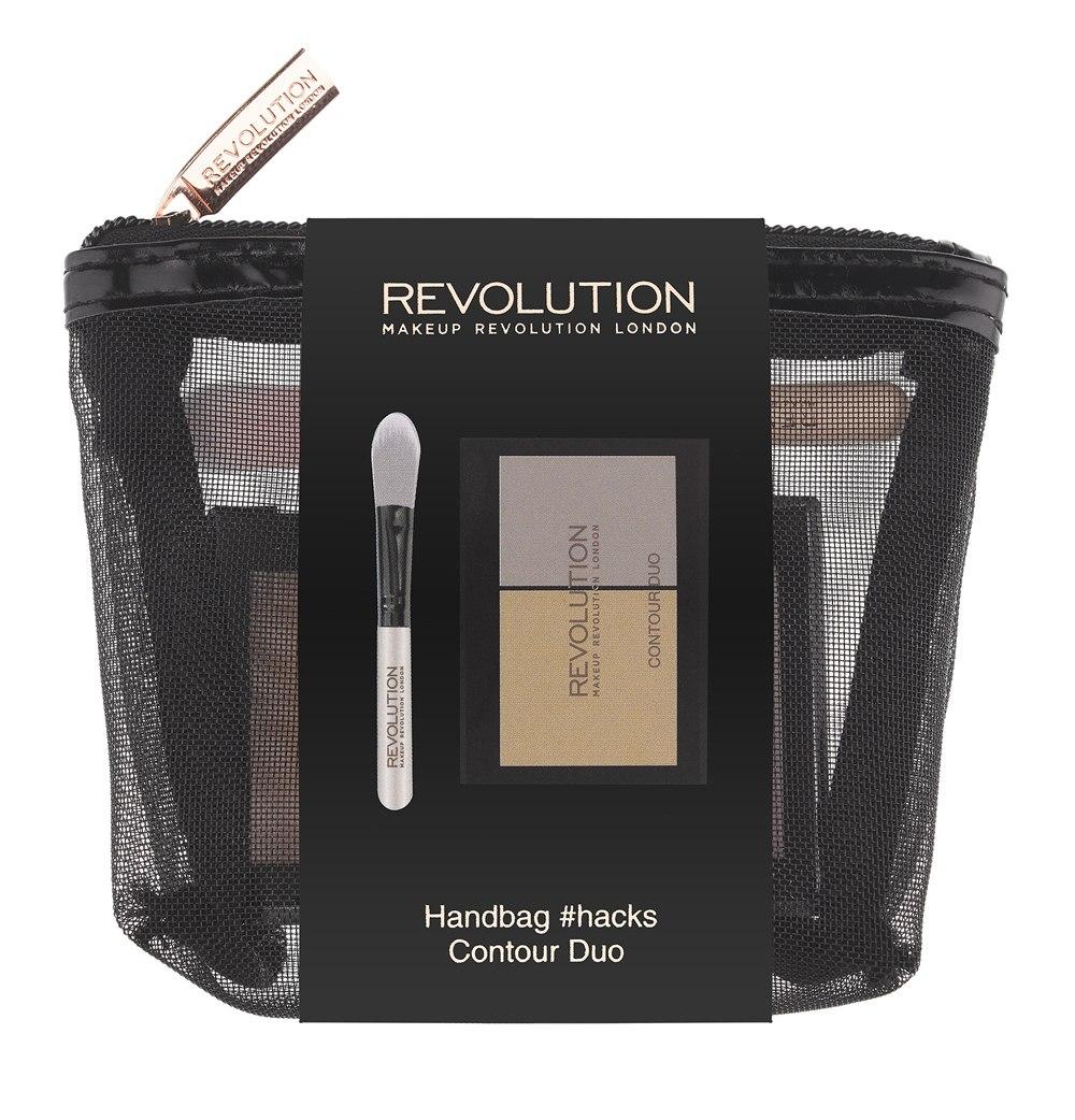 Makeup Revolution Набор для макияжа Handbag #hacks Contour Duo34001012014Все, что нужно для контуринга, - в одной компактной косметичке! Палетка для безупречного контуринга Contour Duo, включающая матовый оттенок контурирующей пудры и сияющий хайлайтер, а также мини-кисть для их нанесения и растушевки - в стильной компактной косметичке.