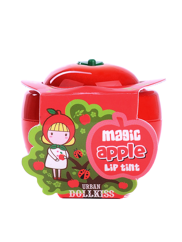 Urban Dollkiss Тинт для губ яблоко Apple Magic Lip Tint, 6 гр305076Тинт не только дарит губам нежные и естественные цвета, но и ухаживает за кожей губ. Витамины А, С и Е, масло ши и экстракты яблока, персика или лимона увлажняют, питают и смягчают кожу губ, защищают ее от обветривания и агрессивного воздействия УФ-излучения. Тинт устраняет шелушения и сухость, разглаживает кожу, ускоряет заживление потрескавшейся кожи, делает кожу губ упругой, эластичной, мягкой и шелковистой. Создает эффект ненакрашенных влажных губ, придает им чуть большую пухлость и насыщенный оттенок. Тинт быстро проявляется на губах: лимонный тинт окрашивает губы в нежный розовый цвет, а персиковый и яблочный – в нежные красные оттенки.