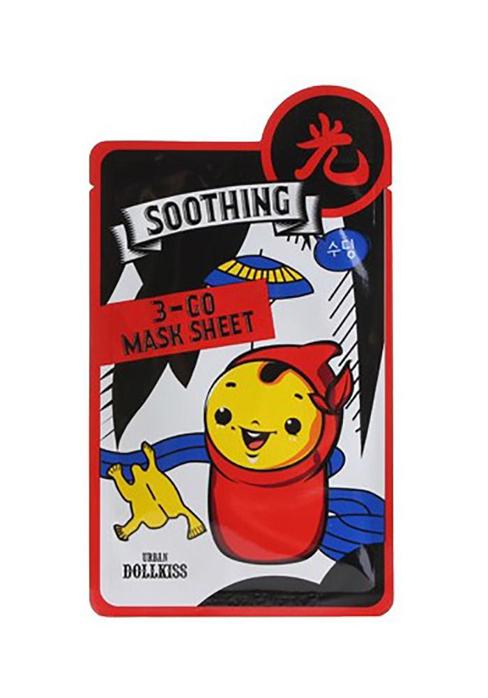 Urban Dollkiss Маска тканевая успокаивающая 3-GO Mask Sheet Soothing, 25 грAC-1121RDТканевая маска с витаминами обеспечит вашу кожу всем необходимым: увлажнением, питанием, восстановлением, энергией и здоровьем! Это высокоэффективное средство оказывает превосходное действие на кожу, мгновенно улучшая ее состояние и радуя вас превосходным результатом уже после первого применения! В основе формулы маски лежит натуральный витаминный комплекс, который насыщает клетки влагой, кислородом и полезными микроэлементами.В состав маски входят незаменимые для красоты кожи витамины А, С, Д, Е, В12, а также кальций, натуральные экстракты портулака и алоэ вера. Содержащийся в формуле маски активный ингредиент Aminosan способствует интенсивному смягчению кожи, заметно выравнивает рельеф и делает ее очень шелковистой. Благодаря высокому содержанию полезных для кожи витаминов, маска оказывают мощное антиоксидантное и восстанавливающее действие, тонизирует, увлажняет, питает, оздоравливает кожу, повышает ее иммунитет, ускоряет обменные процессы, улучшает тургор и придает свежий отдохнувший вид!