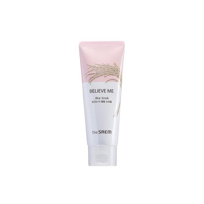 The Saem Скраб для лица Believe Me Rice Scrub, 80 млFS-00610Рисовый скраб нежно очищает кожу от ороговевших чешуек кожи. Восстанавливает чистый, прозрачный тон кожи. Обладает питательным и увлажняющим действием, восстанавливает текстуру кожи, Содержит масло риса, оливы, настой рисовых отрубей экстракт риса и т.д. В нем сохранены все полезные вещества, благодаря методу перегонки водяным паром. Призван бороться с преждевременным старение, освежать и смягчать кожу. Насыщенный аминокислотами и минералами экстракт риса дает коже необходимые ей питательные вещества и укрепляет защитный барьер.