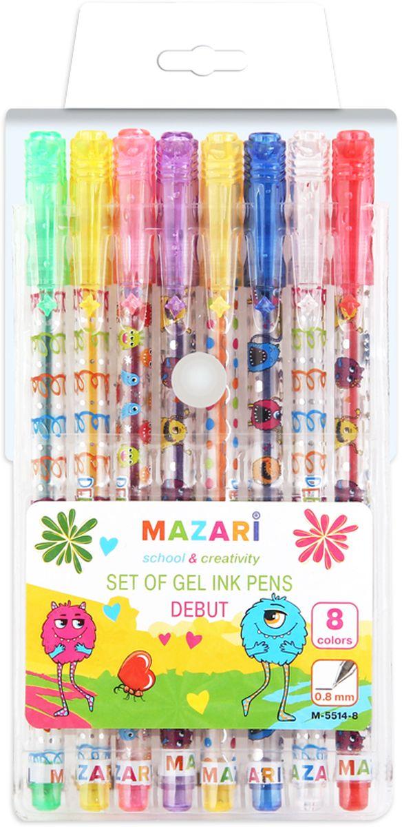 Mazari Набор гелевых ручек с блестками Debut 8 цветов72523WDНабор гелевых ручек с блестками Debut, 8 цв., пулевидный пиш.узел 0.8мм, корпус пластиковый цветной, в ПВХ-упаковке