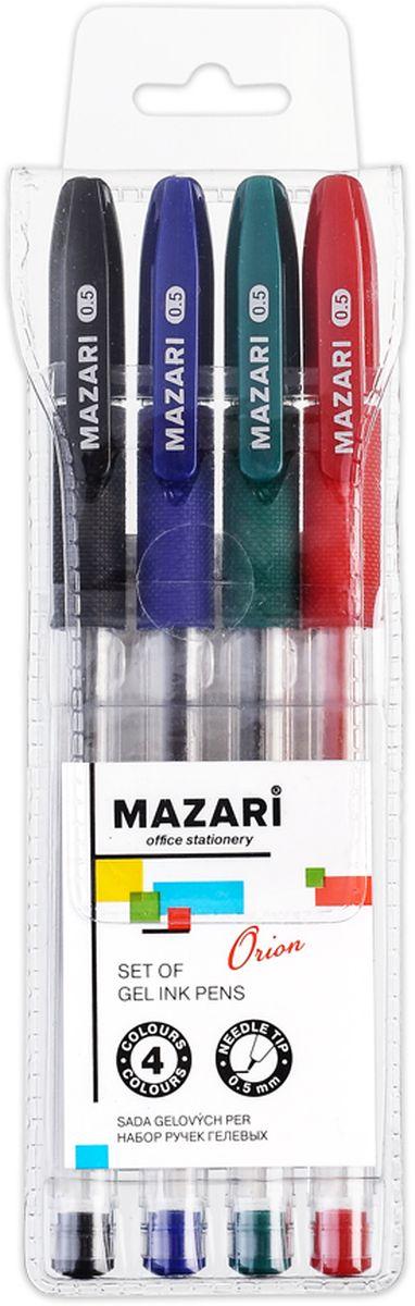 Mazari Набор гелевых ручек Orion 4 цветаPP-304Набор разноцветных гелевых ручек Mazari Mistry отлично подойдет для школы или офиса. Гелевая ручка имеет игольчатый пишущий узел 0,5 мм. Качественные гелевые чернила не требуют давления на пишущую поверхность, обеспечивая чёткие и плавные линии, а пластиковый прозрачный корпус с резиновым грипом позволяет контролировать их расход. В наборе: 4 ручки красного, зеленого, синего и черного цвета.