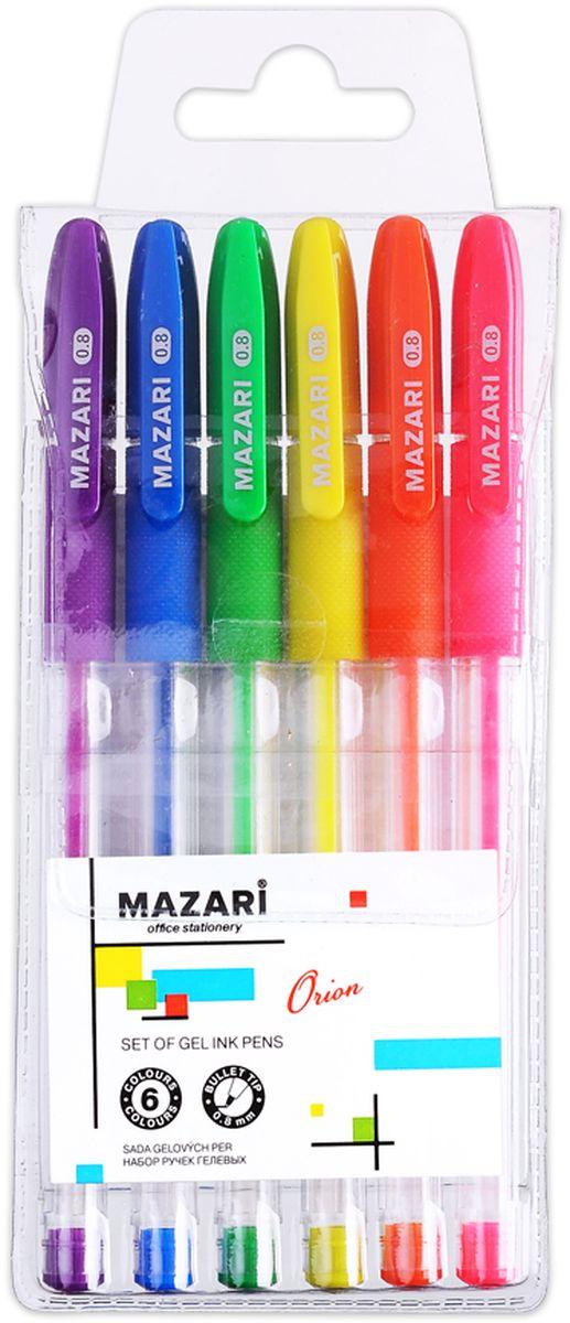 Набор разноцветных гелевых ручек Mazari Orion отлично подойдет для школы или офиса.  Качественные гелевые чернила не требуют давления на пишущую поверхность, обеспечивая чёткие и плавные линии, а прозрачный корпус с резиновым грипом позволяет контролировать их расход.Пулевидный пишущий узел 0,8 мм.В наборе ручки 6 флуоресцентных цветов.