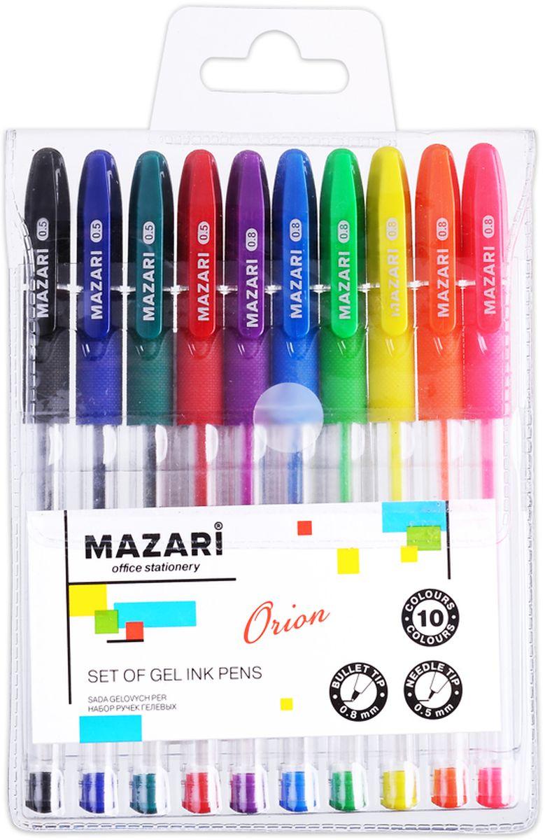 Mazari Набор гелевых ручек Orion 10 цветовFS-00103Набор разноцветных гелевых ручек Mazari Orion отлично подойдет для школы или офиса.Качественные гелевые чернила не требуют давления на пишущую поверхность, обеспечивая чёткие и плавные линии, а прозрачный корпус с резиновым грипом позволяет контролировать их расход.Пулевидный пишущий узел 0,8 мм.В наборе ручки 10 цветов: 4 основных цвета и 6 флуоресцентных.