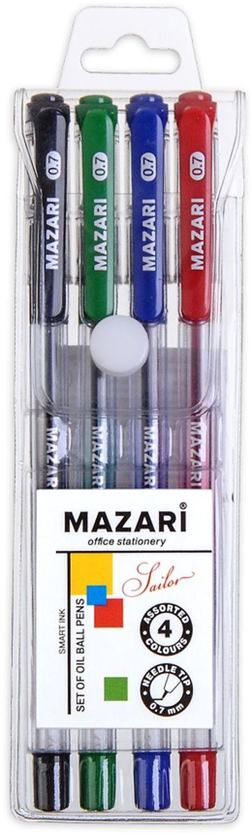 Mazari Набор шариковых ручек Sailor 4 цвета72523WDНабор шариковых ручек Mazari Sailor состоит из четырех разноцветных ручек (синий, красный, зеленый, черный). Ручки пишут яркими насыщенными цветами. Чернила изготовлены на масляной основе (Индия). Ручки имеют игольчатый пишущий узел 0,7 мм. Корпус ручек изготовлен из качественного прозрачного пластика с резиновым грипом, что позволяет контролировать расход чернил.Ручки отлично подойдут и для письма, и просто для подчеркивания.