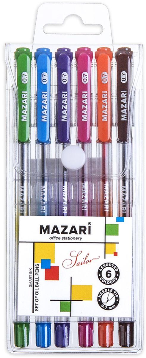 Mazari Набор шариковых ручек Sailor 6 цветовМ-5700-6Набор шариковых ручек Mazari Sailor состоит из шести разноцветных ручек (синий, зеленый, оранжевый, фиолетовый, розовый, черный). Ручки пишут яркими насыщенными цветами. Чернила изготовлены на масляной основе (Индия). Ручки имеют игольчатый пишущий узел 0,7 мм. Корпус ручек изготовлен из качественного прозрачного пластика с резиновым грипом, что позволяет контролировать расход чернил.Ручки отлично подойдут и для письма, и просто для подчеркивания.