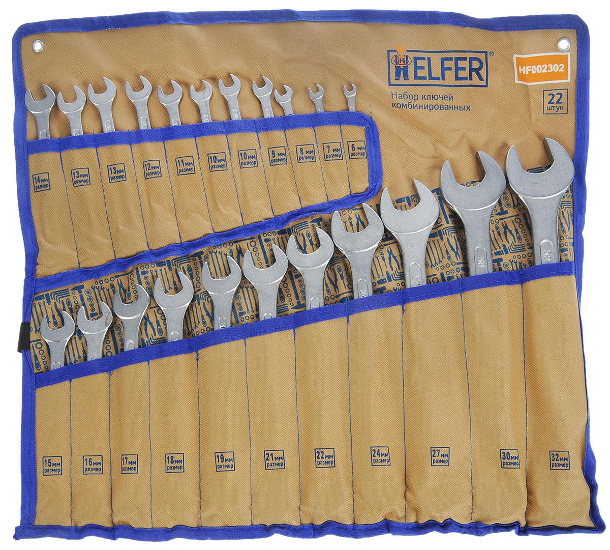 Набор комбинированных гаечных ключей Helfer, 23 предмета21395599Набор Helfer включает 22 комбинированных гаечных ключа, выполненных из качественной стали. Благодаря правильному подбору материала и параметров технологического процесса ключи выдерживают высокие нагрузки, устойчивы к истиранию рабочих граней. Применяются для работ с шестигранным крепежом. Комбинированный гаечный ключ - незаменимый инструмент при сборке и разборке любых металлических конструкций. Он сочетает в себе рожковый и накидной гаечные ключи. Первый нужен для работы в труднодоступных местах, второй более эффективен при отворачивании тугого крепежа. Для хранения набора предусмотрен текстильный чехол-органайзер.
