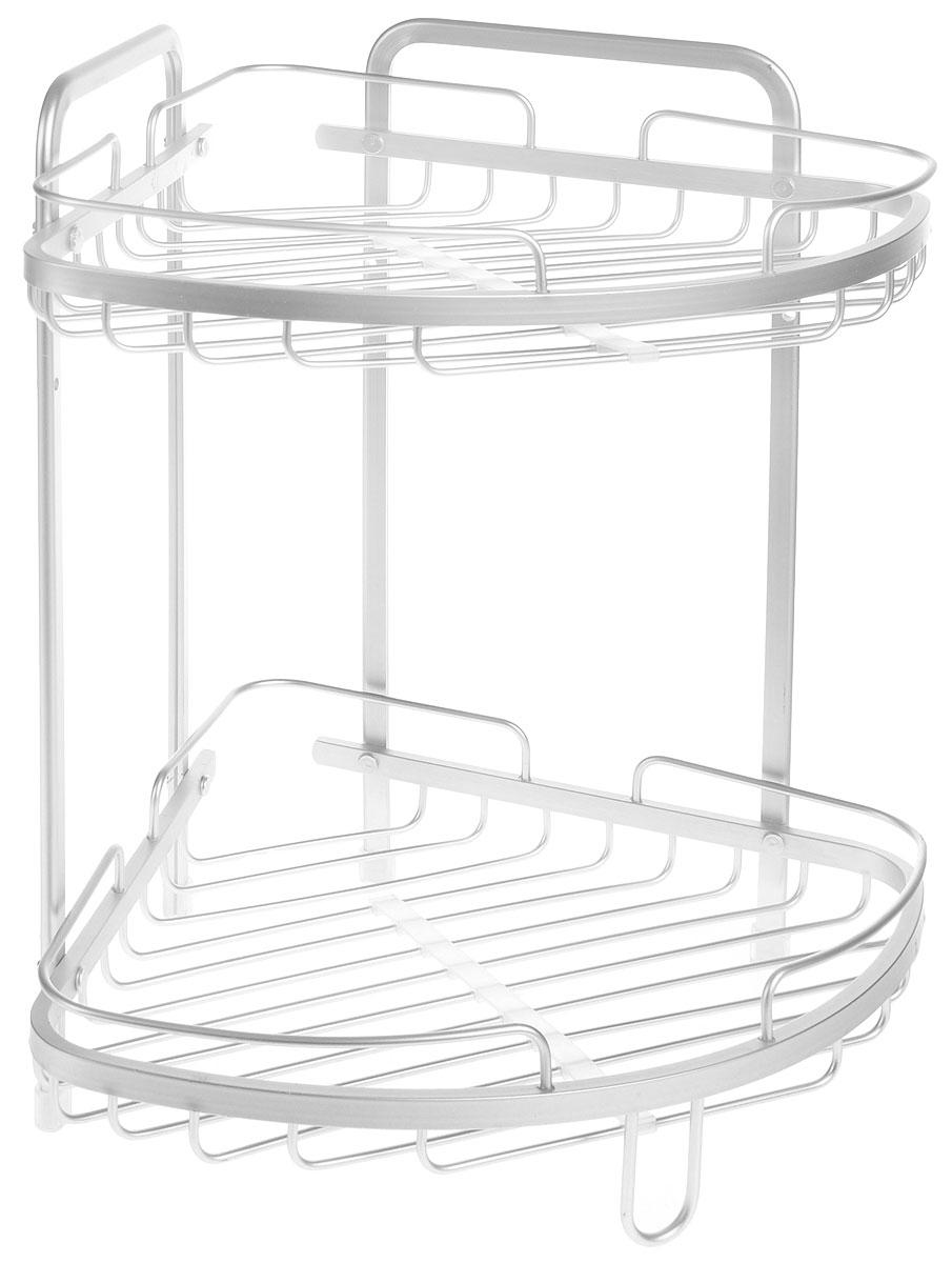 Полка для ванной комнаты Wonder Worker Astra, угловая, 2-ярусная, 26 х 26 х 37 см68/5/3Угловая подвесная полка Wonder Worker Astra, выполненная из анодированного алюминия, сэкономит место в ванной комнате или на кухне. Полка подвешивается с помощью саморезов (входят в комплект), либо устанавливается на ножки с силиконовой поверхностью. Изделие имеет две полки для хранения различных средств гигиены, которые всегда будут под рукой.Благодаря компактным размерам, полка впишется в интерьер вашего дома, а также позволит удобно и практично хранить предметы домашнего обихода.Общий размер полки: 26 х 26 х 37 см.