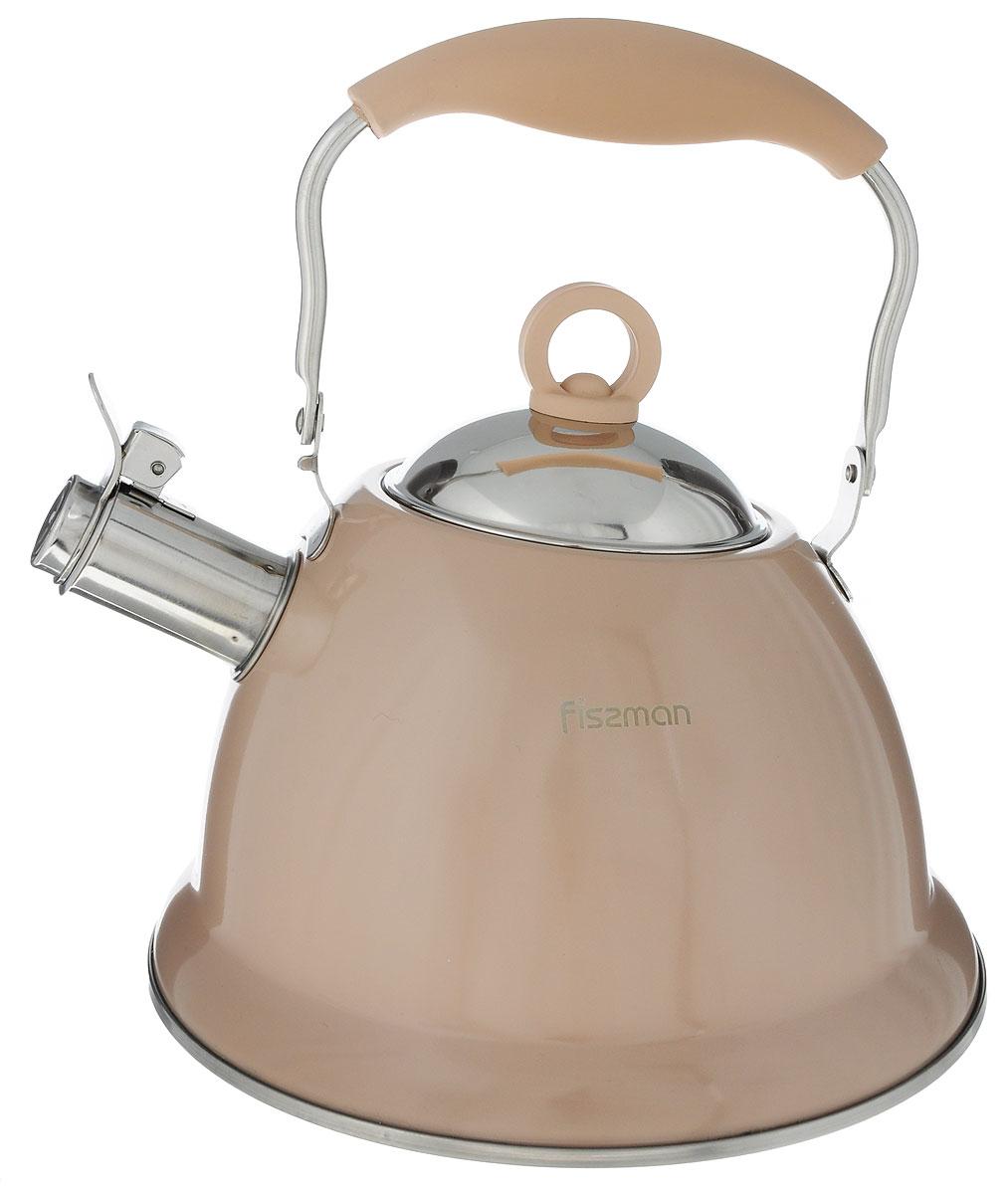 Чайник Fissman Florence, со свистком, цвет: кофейный, 2,6 лFS-91909Чайник Fissman Florence изготовлен из высококачественной нержавеющей стали 18/10. Нержавеющая сталь обладает высокой устойчивостью к коррозии, не вступает в реакцию с холодными и горячими продуктами и полностью сохраняет их вкусовые качества. Особая конструкция капсулированного дна способствует высокой теплопроводности и равномерному распределению тепла. Чайник оснащен удобной ручкой с силиконовым покрытием. Носик чайника имеет откидной свисток, звуковой сигнал которого подскажет, когда закипит вода.Благодаря чайнику Fissman Florence, вы будете постоянно ощущать тепло и уют на вашей кухне.Подходит длягазовых, электрических, стеклокерамических, индукционных плит. Можно мыть в посудомоечной машине. Диаметр чайника (по верхнему краю): 9,5 см. Высота чайника (без учета крышки и ручки): 13 см. Высота чайника (с учетом ручки): 25,5 см. Диаметр индукционного диска: 18,5 см.