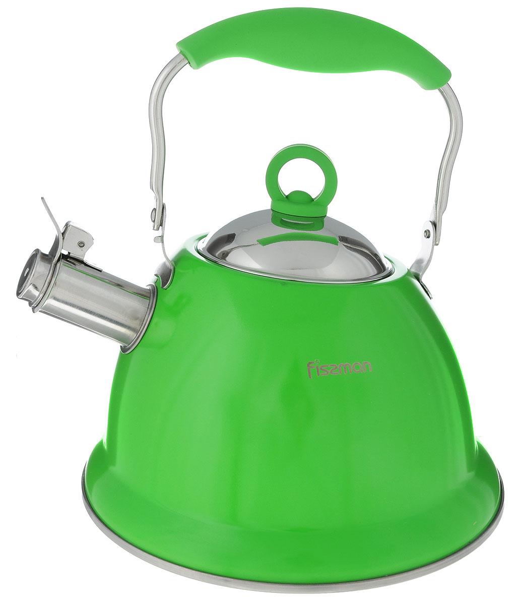 Чайник Fissman Florence, со свистком, цвет: зеленый, 2,6 лKT-5930.2.6_зеленыйЧайник Fissman Florence изготовлен из высококачественной нержавеющей стали 18/10. Нержавеющая сталь обладает высокой устойчивостью к коррозии, не вступает в реакцию с холодными и горячими продуктами и полностью сохраняет их вкусовые качества. Особая конструкция капсулированного дна способствует высокой теплопроводности и равномерному распределению тепла. Чайник оснащен удобной ручкой с силиконовым покрытием. Носик чайника имеет откидной свисток, звуковой сигнал которого подскажет, когда закипит вода.Благодаря чайнику Fissman Florence, вы будете постоянно ощущать тепло и уют на вашей кухне.Подходит длягазовых, электрических, стеклокерамических, индукционных плит. Можно мыть в посудомоечной машине. Диаметр чайника (по верхнему краю): 9,5 см. Высота чайника (без учета крышки и ручки): 13 см. Высота чайника (с учетом ручки): 25,5 см.