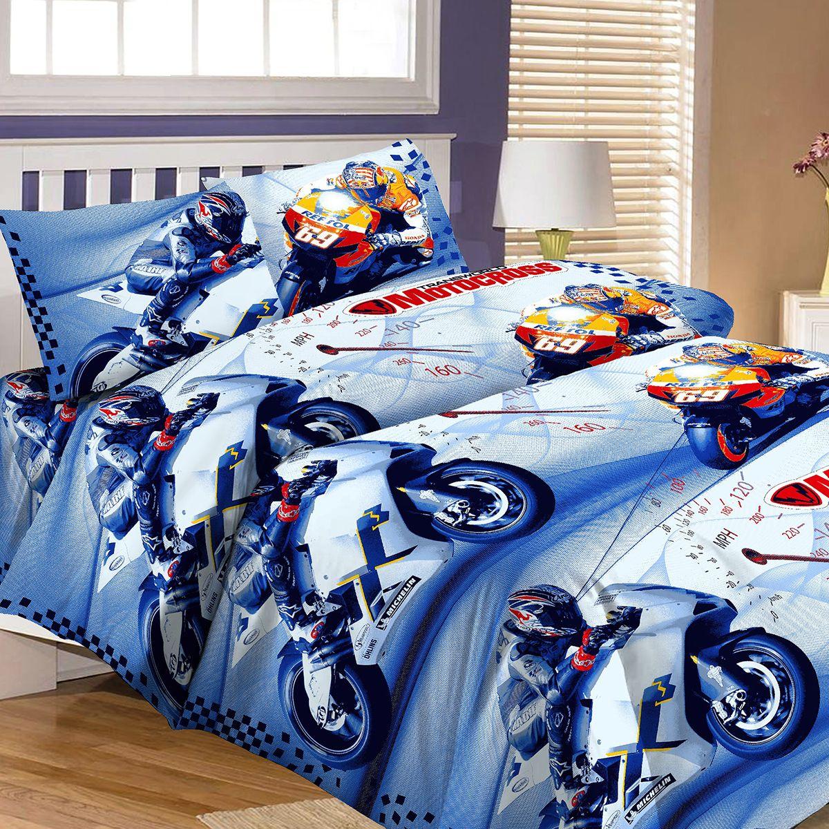 Комплект детского постельного белья Letto  Мотокросс , 1,5-спальный, наволочка 50x70, цвет: синий -  Постельное белье