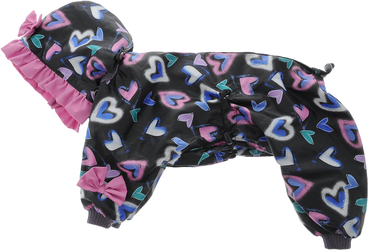 Комбинезон для собак Kuzer-Moda Мариска, для девочки, двухслойный, цвет: черный, розовый, синий. Размер 27KZ002852Яркая и нарядная модель для девочек. Из набивной плащевой ткани, украшен однотонными рюшами и забавными бантиками на передних лапках.Яркий и нарядный комбинезон Kuzer-Moda Мариска предназначен для собак мелких пород. Изделие отлично подойдет для прогулок в прохладную погоду.Комбинезон изготовлен из набивной плащевой ткани, которая сохранит тепло и обеспечит отличный воздухообмен, и украшен однотонными рюшами и забавными бантиками на передних лапках. Комбинезон застегивается на кнопки и липучки, благодаря чему его легко надевать и снимать. Ворот, низ рукавов и брючин оснащены резинками, которые мягко обхватывают шею и лапки, не позволяя просачиваться холодному воздуху. На пояснице имеются затягивающиеся шнурки, которые также помогают сохранить тепло.Благодаря такому комбинезону простуда не грозит вашему питомцу, и он не даст любимцу продрогнуть на прогулке.Размер: 27.Обхват груди: 45 см.Длина спинки: 33 см.