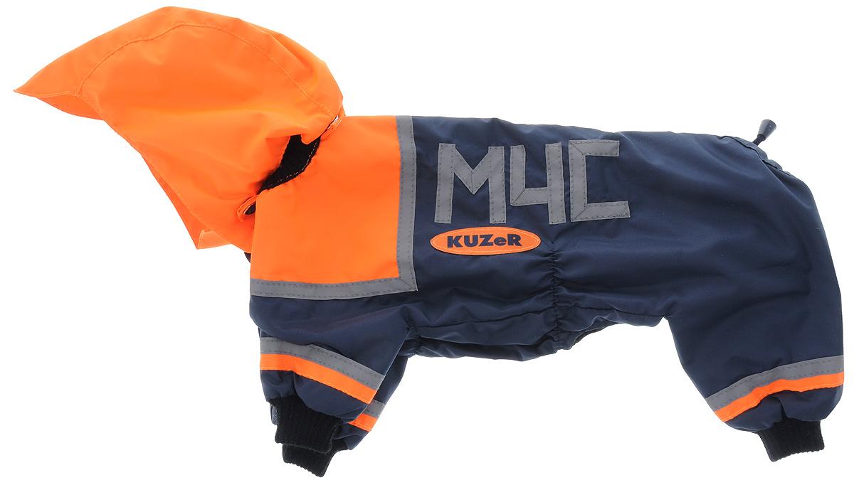 Комбинезон для собак Kuzer-Moda МЧС, для мальчика, двухслойный, цвет: черный, оранжевый. Размер 270120710Комбинезон для собак Kuzer-Moda МЧС отлично подойдет для прогулок в прохладную погоду. Он стилизован под форму спасателей.Комбинезон изготовлен из прочной ткани, которая сохранит тепло и обеспечит отличный воздухообмен. Комбинезон с капюшоном застегивается на кнопки, благодаря чему его легко надевать и снимать. Ворот, низ рукавов и брючин оснащены трикотажными резинками, которые мягко обхватывают шею и лапки, не позволяя просачиваться холодному воздуху. На пояснице имеются затягивающиеся шнурки, которые также не позволяют проникнуть холодному воздуху.Благодаря такому комбинезону простуда не грозит вашему питомцу, и он не даст любимцу продрогнуть на прогулке.Длина по спинке: 33 см.Обхват шеи: 19 см.