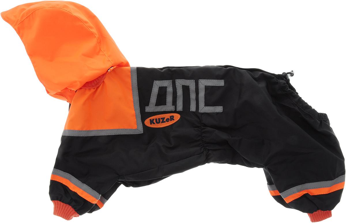 Комбинезон для собак Kuzer-Moda МЧС, для мальчика, двухслойный, цвет: черный, оранжевый. Размер L0120710Комбинезон для собак Kuzer-Moda МЧС отлично подойдет для прогулок в прохладную погоду. Он стилизован под форму спасателей.Комбинезон изготовлен из прочной ткани, которая сохранит тепло и обеспечит отличный воздухообмен. Комбинезон с капюшоном застегивается на кнопки, благодаря чему его легко надевать и снимать. Ворот, низ рукавов и брючин оснащены трикотажными резинками, которые мягко обхватывают шею и лапки, не позволяя просачиваться холодному воздуху. На пояснице имеются затягивающиеся шнурки, которые также не позволяют проникнуть холодному воздуху.Благодаря такому комбинезону простуда не грозит вашему питомцу, и он не даст любимцу продрогнуть на прогулке.Длина по спинке: 36 см.Обхват шеи: 20 см.