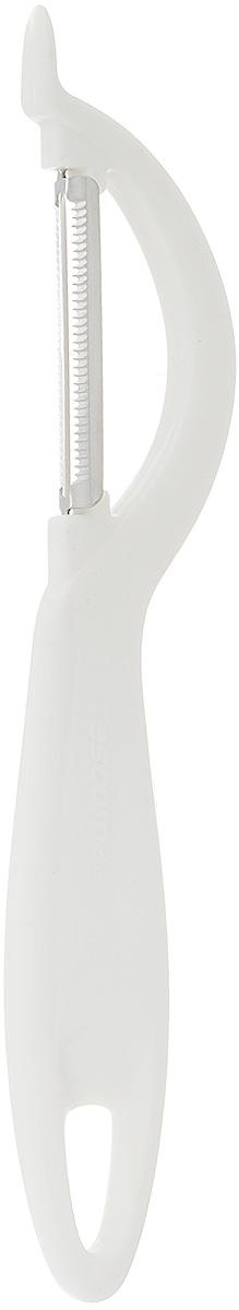 Овощечистка Tescoma Presto, с зубчатым лезвием, длина 19 см420110Овощечистка Tescoma Presto изготовлена из прочного пластика, а зубчатое лезвие - из высококачественной нержавеющей стали. Отлично подходит для быстрой и легкой очистки овощей и фруктов с мягкой кожурой, например, помидоров, киви, яблок, грибов.Можно мыть в посудомоечной машине.Длина лезвия: 5 см.Общая длина овощечистки: 19 см.