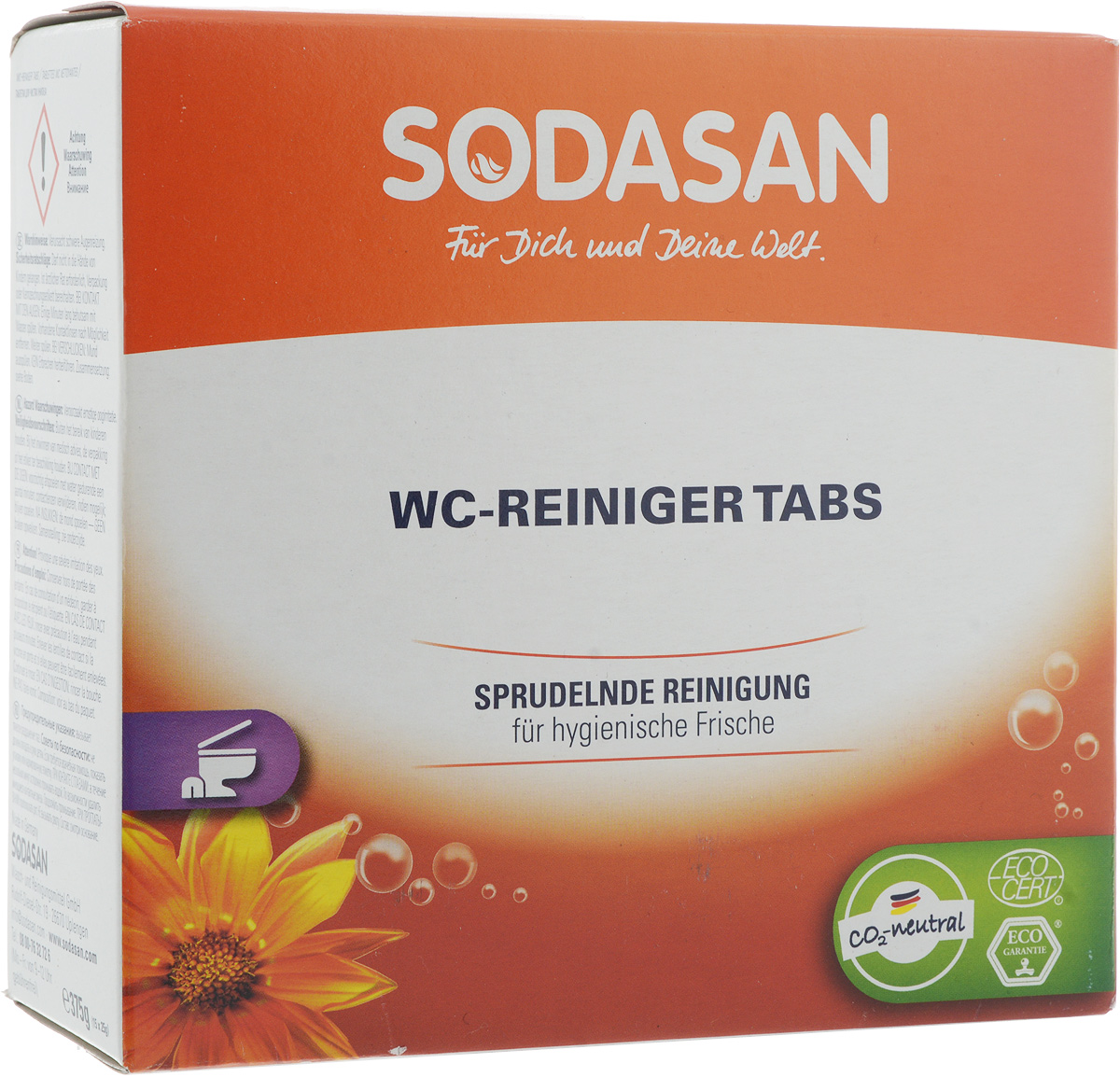 Таблетки для чистки унитаза Sodasan, 375 г2080_оранжевыйТаблетки для чистки унитаза Sodasan эффективно очищают поверхности унитаза, недоступные щетке. При регулярном использовании предотвращают образование известкового налета. Допускается использование в виде раствора для ручной чистки щеткой. Состав: >30% лимонная кислота, 5-15% карбонаты натрия, Товар сертифицирован.