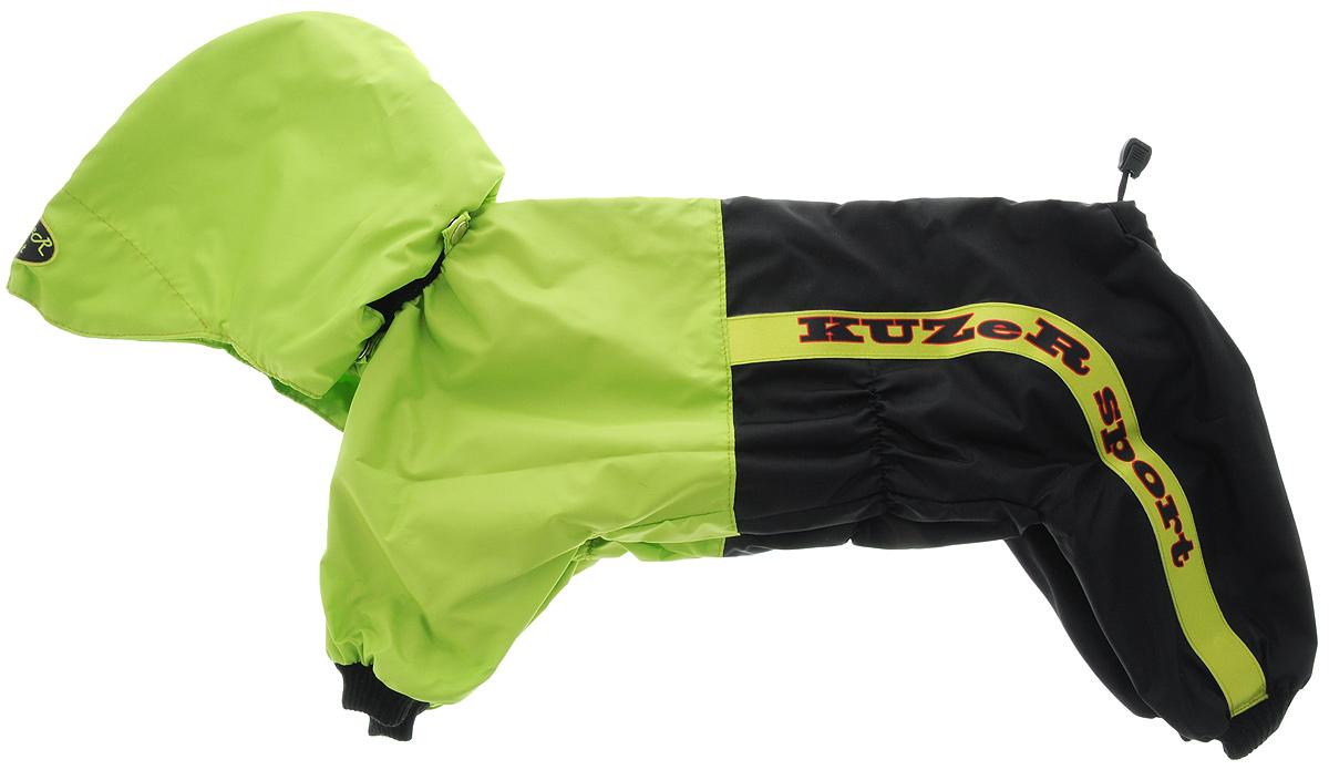Комбинезон для собак Kuzer-Moda Пилот, для мальчика, двухслойный, цвет: черный, салатовый. Размер 27385-13Комбинезон Kuzer-Moda Пилот предназначен для собак мелких пород. Изделие отлично подойдет для прогулок в прохладную погоду.Комбинезон с капюшоном изготовлен из прочной ткани, которая сохранит тепло и обеспечит отличный воздухообмен. Комбинезон застегивается на кнопки, благодаря чему его легко надевать и снимать. Ворот, низ рукавов и брючин оснащены резинками, которые мягко обхватывают шею и лапки, не позволяя просачиваться холодному воздуху. На пояснице имеются затягивающиеся шнурки, которые также помогают сохранить тепло.Благодаря такому комбинезону простуда не грозит вашему питомцу, и он не даст любимцу продрогнуть на прогулке.Размер: 27.Длина по спинке: 32 см.Обхват шеи: 20 см.