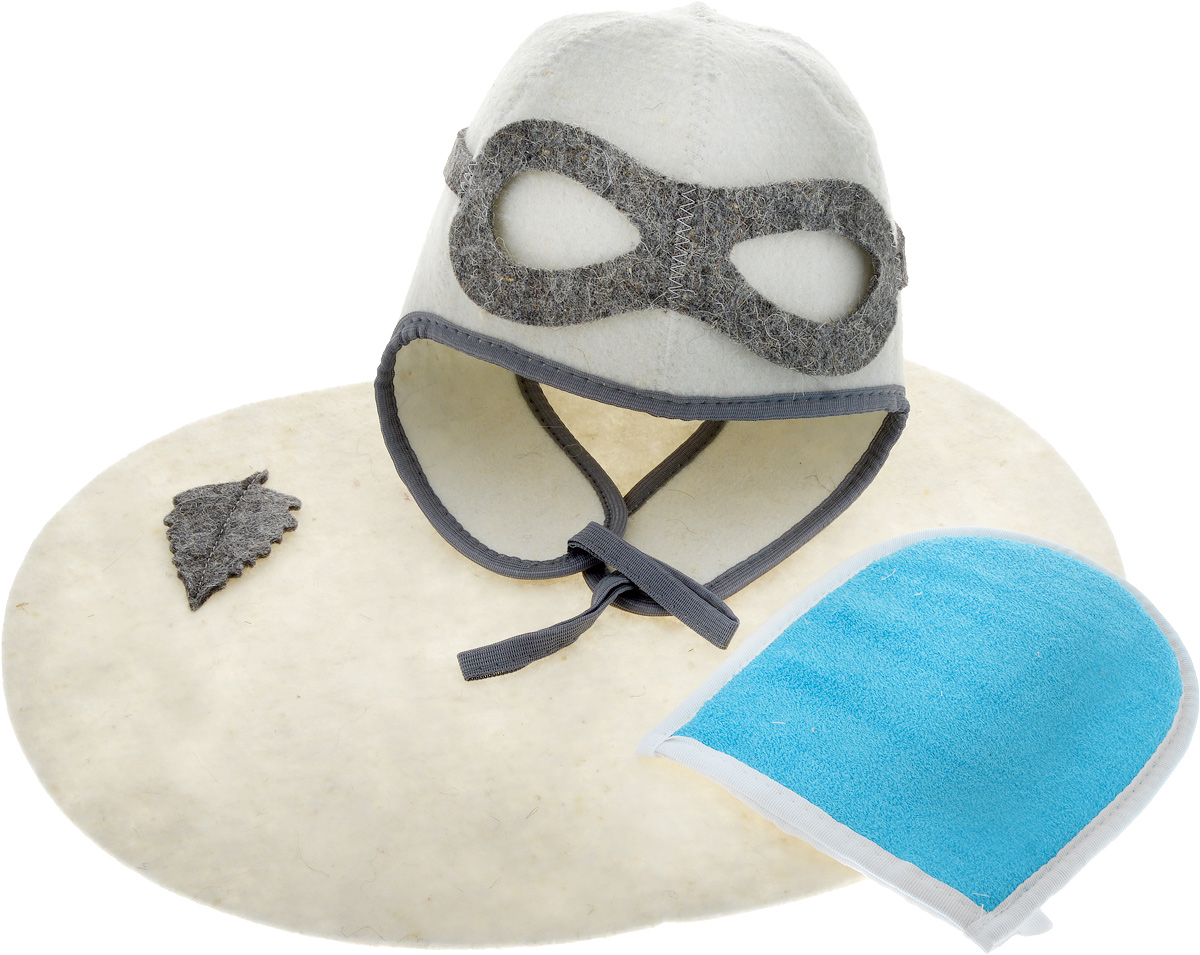 Набор для бани и сауны Главбаня Пилот, цвет: белый, синий, 3 предмета. Б3230241188Набор для бани и сауны Главбаня Пилот состоит из необходимых аксессуаров, для того, чтобы банный поход принес вам только радость. В набор входят: - Шапка из войлока, выполненная в виде летного шлема. Это незаменимая вещь в парной. Она необходима для того, чтобы не перегреть голову. - Мочалка средней жесткости из крапивы и хлопка. Оказывает нежное массажное и прекрасное отшелушивающее воздействие на кожу.- Коврик из войлока, украшенный аппликацией в виде листочка. Он убережет вас от горячей полки и защитит в общественной бане. Размер коврика: 43 х 34 см. Размер мочалки: 19 х 15,5 см. Высота шапки: 34 см.