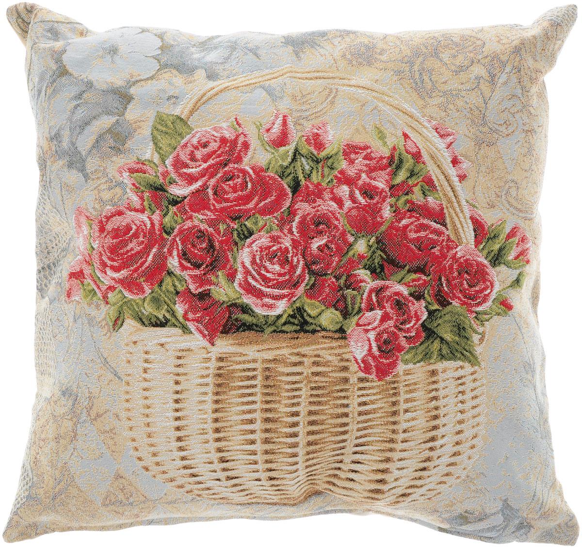 Подушка декоративная Рапира Корзина с розами, 50 х 50 смS03301004Декоративная подушка Рапира Корзина с розами изготовлена из хлопка и полиэфира. Изделие очень прочное и нежное на ощупь. Лицевая сторона подушки имеет яркий рисунок. Чехол подушки снабжен удобной молнией. Такая подушка станет приятным дополнением к интерьеру любой комнаты.Размер подушки: 50 х 50 см.