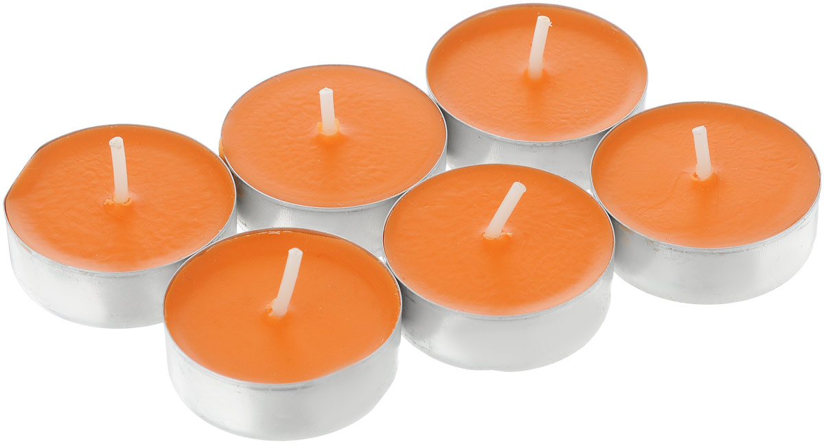 Набор свечей Paterra Персик, ароматизированные, диаметр 4 см, 6 шт401-455_персикНабор свечей Персик включает 6 чайных свечей с ароматом персика. Персик прекрасно поднимает настроение. Свечи - это не только источник света, но и замечательное украшение для вашего праздничного стола и интерьера. Насколько ярким и незабываемым может стать ваш праздник, если в него добавить немного мягкого и завораживающего свечения. Свечи изготовлены из высококачественных материалов, не вызывают аллергии, не растрескиваются и не коптят в процессе использования.
