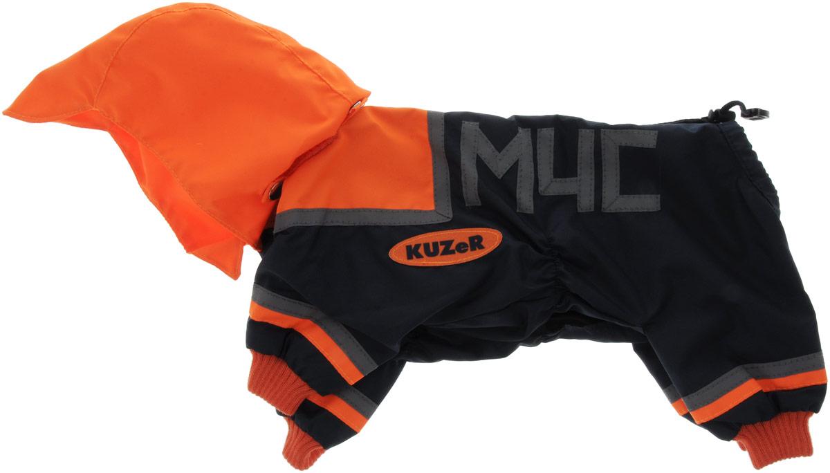 Комбинезон для собак Kuzer-Moda МЧС, для мальчика, двухслойный, цвет: черный, оранжевый. Размер XL0120710Комбинезон Kuzer-Moda МЧС предназначен для собак мелких пород. Изделие отлично подойдет для прогулок в прохладную погоду.Комбинезон изготовлен из прочной ткани, которая сохранит тепло и обеспечит отличный воздухообмен. Комбинезон застегивается на кнопки, благодаря чему его легко надевать и снимать. Ворот, низ рукавов и брючин оснащены резинками, которые мягко обхватывают шею и лапки, не позволяя просачиваться холодному воздуху. На пояснице имеются затягивающиеся шнурки, которые также помогают сохранить тепло.Благодаря такому комбинезону простуда не грозит вашему питомцу, и он не даст любимцу продрогнуть на прогулке.Размер: XL.Обхват: груди: 50 см.Обхват шеи: 18 см.