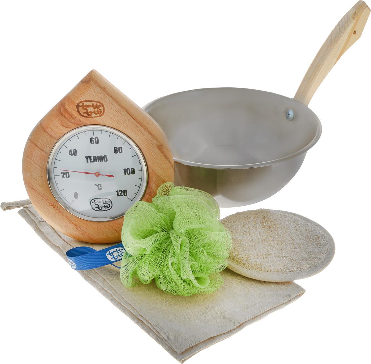 Набор для бани и сауны Доктор Баня Подарочный №3, 5 предметов787502Набор для бани и сауны Доктор Баня Подарочный №3 включает в себя: - Термометр, корпус которого выполнен из древесины. Он покажет температуру и не останется незамеченным для посетителей бани;- Ковш-черпак, изготовленный из металла с деревянной ручкой;- Мочалку, выполненную из льна и хлопка; - Синтетический спонж из нейлона;- Салфетку, изготовленную из льна и хлопка, которая убережет вас от горячей полки.Такой набор поможет с удовольствием и пользой провести время в бане, а также станет чудесным подарком друзьям и знакомым, которые по достоинству его оценят при первом же использовании.Размер салфетки: 44 х 60 см.Диаметр мочалки: 13 см.Диаметр ковша: 22 см.Высота ковша: 9 см.Длина ручки ковша: 18 см.