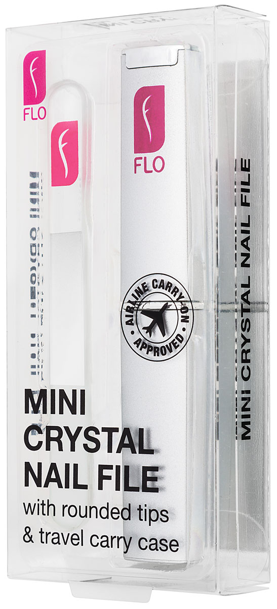 Flo Маникюрная пилка Travel Crystal, с футляром, цвет: прозрачныйSC-FM20104Стеклянная пилочка для ногтей 90 мм. Защищена противоударным чехлом. Материал: стекло, пластик