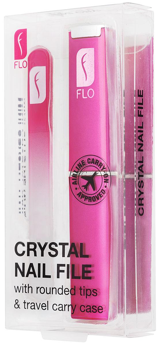 Flo Маникюрная пилка Travel Crystal, с футляром, цвет: фуксия1092018Стеклянная пилочка для ногтей 90 мм. Защищена противоударным чехлом. Материал: стекло, пластик