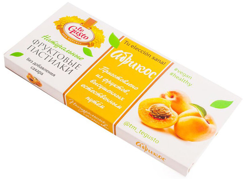 te Gusto Фруктовые пастилки из абрикоса, 40 г3800500082233Фруктовые пастилки te Gusto без ГМО, глютена, сои, сахара, фруктозы, красителей, усилителей вкуса, загустителей. В составе только один ингредиент – плод, выращенный в экологически чистом районе. Пастилки изготовлены методом солнечной сушки, без консервантов. Абрикос улучшает память, повышает мозговую активность, придаёт силу и бодрость.Особый способ измельчения плодов позволяет сохранить витамины в первозданном виде. Данный продукт создан для людей, ведущих здоровый образ жизни и уделяющих большое внимание своему питанию. Для спортсменов это полезный и питательный перекус, для вегетарианцев – сладость, не содержащая продуктов животного происхождения, для детей – натуральное лакомство, которое единожды попробовав, они предпочитают шоколадкам, и для всех, вне зависимости от возраста и систем питания – здоровый продукт без красителей, консервантов и подсластителей.