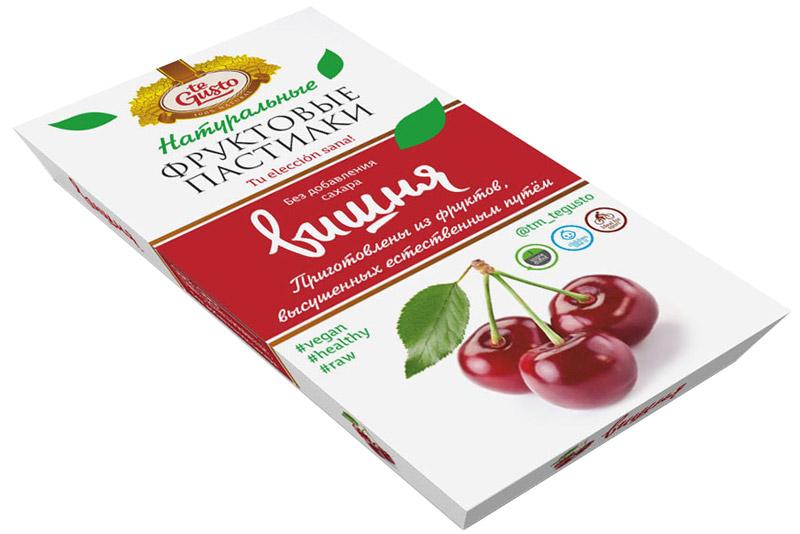 te Gusto Фруктовые пастилки из вишни, 90 г4657155301672Фруктовые пастилки te Gusto без ГМО, глютена, сои, сахара, фруктозы, красителей, усилителей вкуса, загустителей. В составе только один ингредиент – плод, выращенный в экологически чистом районе. Пастилки изготовлены методом солнечной сушки, без консервантов.Особый способ измельчения плодов позволяет сохранить витамины в первозданном виде. Данный продукт создан для людей, ведущих здоровый образ жизни и уделяющих большое внимание своему питанию. Для спортсменов это полезный и питательный перекус, для вегетарианцев – сладость, не содержащая продуктов животного происхождения, для детей – натуральное лакомство, которое единожды попробовав, они предпочитают шоколадкам, и для всех, вне зависимости от возраста и систем питания – здоровый продукт без красителей, консервантов и подсластителей.Укрепляет иммунную систему, способствует поддержанию хорошего физического состояния, нормализует здоровые режимы сна.