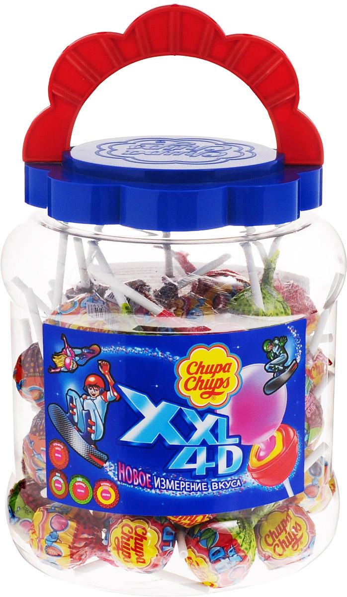 Chupa Chups карамель XXL 4D ассорти, 60 штук по 29 г0120710Chupa Chups XXL 4D - самая большая карамель на палочке с жевательной резинкой. В банке 60 Чупа Чупсов с разными вкусами. Это новое измерение вкуса - инновационная карамель с четырёхмерным вкусом: 2 слоя карамели + гранулы, которые дарят абсолютно новое ощущение вкуса и яркие эмоции + жевательная резинка. Вкусы: лимон и земляника + мятные гранулы; тутти-фрутти и манго + мандариновые гранулы; кола и дыня + вишнёвые гранулы; клубника и банан + черничные гранулы.
