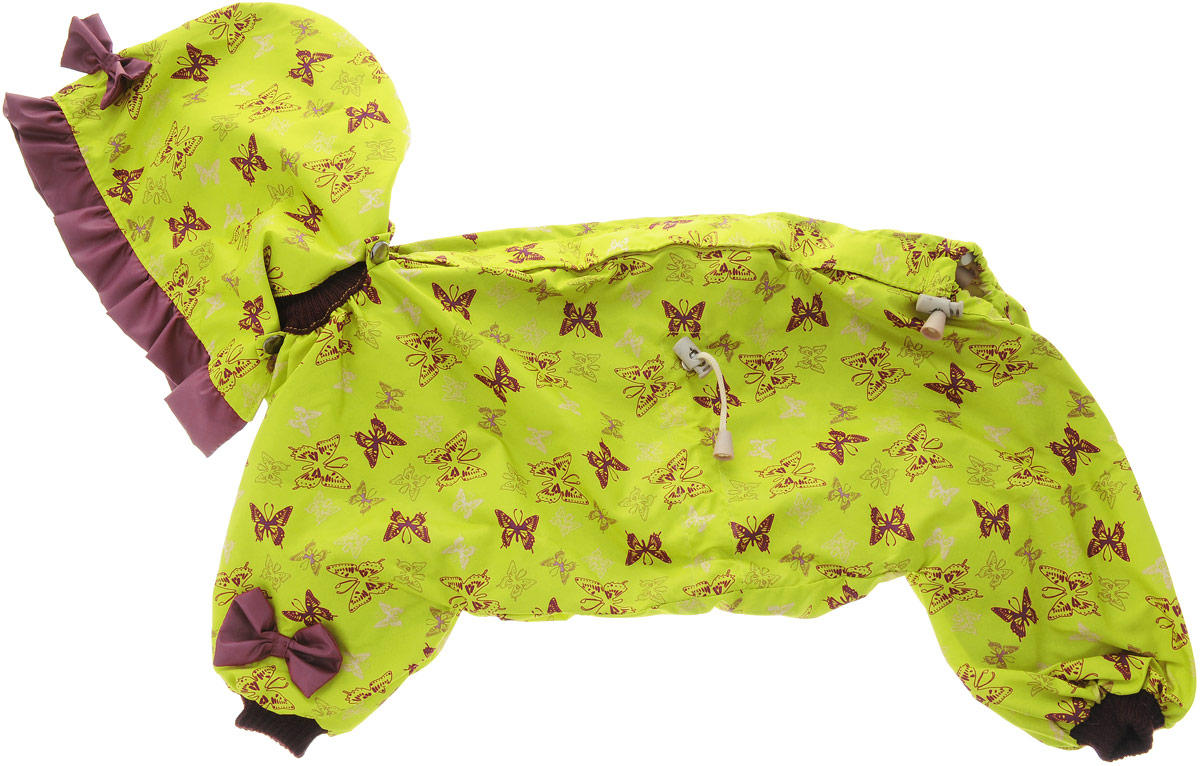Комбинезон для собак Kuzer-Moda Мариска, для девочки, двухслойный, цвет: желтый, коричневый. Размер 270120710Комбинезон Kuzer-Moda Мариска предназначен для собак мелких пород. Изделие отлично подойдет для прогулок в прохладную погоду.Комбинезон изготовлен из прочной ткани, которая сохранит тепло и обеспечит отличный воздухообмен. Комбинезон застегивается на кнопки и липучки, благодаря чему его легко надевать и снимать. Ворот, низ рукавов и брючин оснащены резинками, которые мягко обхватывают шею и лапки, не позволяя просачиваться холодному воздуху. На пояснице имеются затягивающиеся шнурки, которые также помогают сохранить тепло.Благодаря такому комбинезону простуда не грозит вашему питомцу, и он не даст любимцу продрогнуть на прогулке.Размер: 27.Обхват: груди: 50 см.Обхват шеи: 20 см.