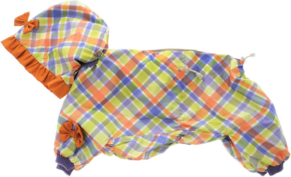 Комбинезон для собак Kuzer-Moda Мариска, для девочки, двухслойный, цвет: салатовый, голубой. Размер LDM-160336_бордовыйКомбинезон Kuzer-Moda Мариска предназначен для собак мелких пород. Изделие отлично подойдет для прогулок в прохладную погоду.Комбинезон изготовлен из прочной ткани, которая сохранит тепло и обеспечит отличный воздухообмен. Комбинезон застегивается на кнопки и липучки, благодаря чему его легко надевать и снимать. Ворот, низ рукавов и брючин оснащены резинками, которые мягко обхватывают шею и лапки, не позволяя просачиваться холодному воздуху. На пояснице имеются затягивающиеся шнурки, которые также помогают сохранить тепло.Благодаря такому комбинезону простуда не грозит вашему питомцу, и он не даст любимцу продрогнуть на прогулке.Размер: L.Обхват: груди: 52 см.Обхват шеи: 18 см.