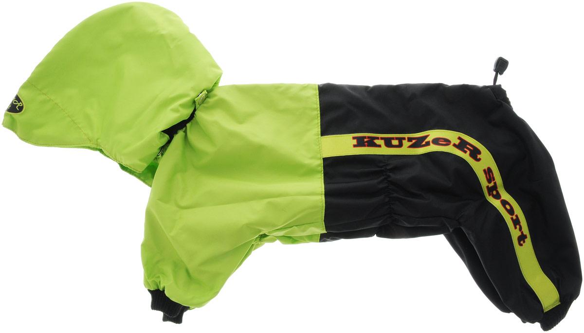 Комбинезон для собак Kuzer-Moda Пилот, для мальчика, двухслойный, цвет: черный, салатовый. Размер L0120710Комбинезон Kuzer-Moda Пилот предназначен для собак мелких пород. Изделие отлично подойдет для прогулок в прохладную погоду.Комбинезон изготовлен из прочной ткани, которая сохранит тепло и обеспечит отличный воздухообмен. Комбинезон застегивается на кнопки, благодаря чему его легко надевать и снимать. Ворот, низ рукавов и брючин оснащены резинками, которые мягко обхватывают шею и лапки, не позволяя просачиваться холодному воздуху. На пояснице имеются затягивающиеся шнурки, которые также помогают сохранить тепло.Благодаря такому комбинезону простуда не грозит вашему питомцу, и он не даст любимцу продрогнуть на прогулке.Размер: L.Обхват: груди: 46 см.Обхват шеи: 16 см.