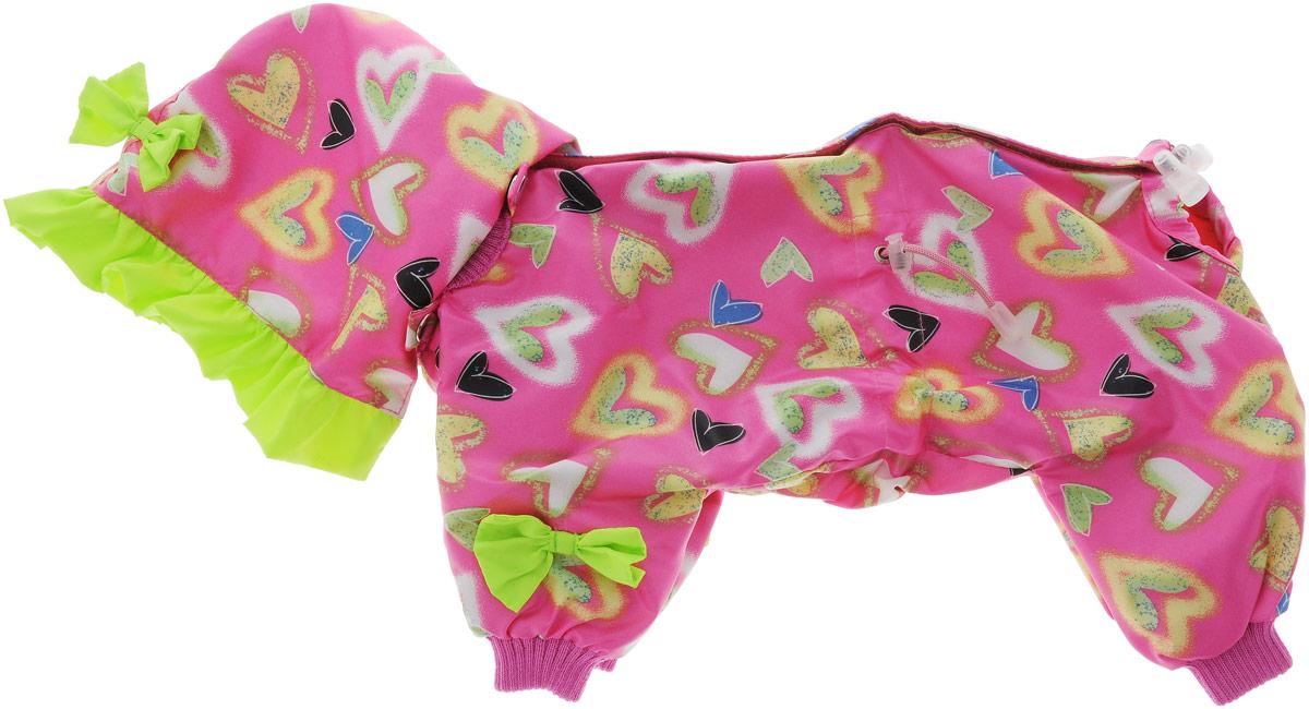 Комбинезон для собак Kuzer-Moda Мариска, для девочки, двухслойный, цвет: розовый, салатовый. Размер 25KZ001815Комбинезон Kuzer-Moda Мариска предназначен для собак мелких пород. Изделие отлично подойдет для прогулок в прохладную погоду.Комбинезон изготовлен из прочной ткани, которая сохранит тепло и обеспечит отличный воздухообмен. Комбинезон застегивается на кнопки и липучки, благодаря чему его легко надевать и снимать. Ворот, низ рукавов и брючин оснащены резинками, которые мягко обхватывают шею и лапки, не позволяя просачиваться холодному воздуху. На пояснице имеются затягивающиеся шнурки, которые также помогают сохранить тепло.Благодаря такому комбинезону простуда не грозит вашему питомцу, и он не даст любимцу продрогнуть на прогулке.Размер: 25.Обхват: груди: 36 см.Обхват шеи: 16 см.