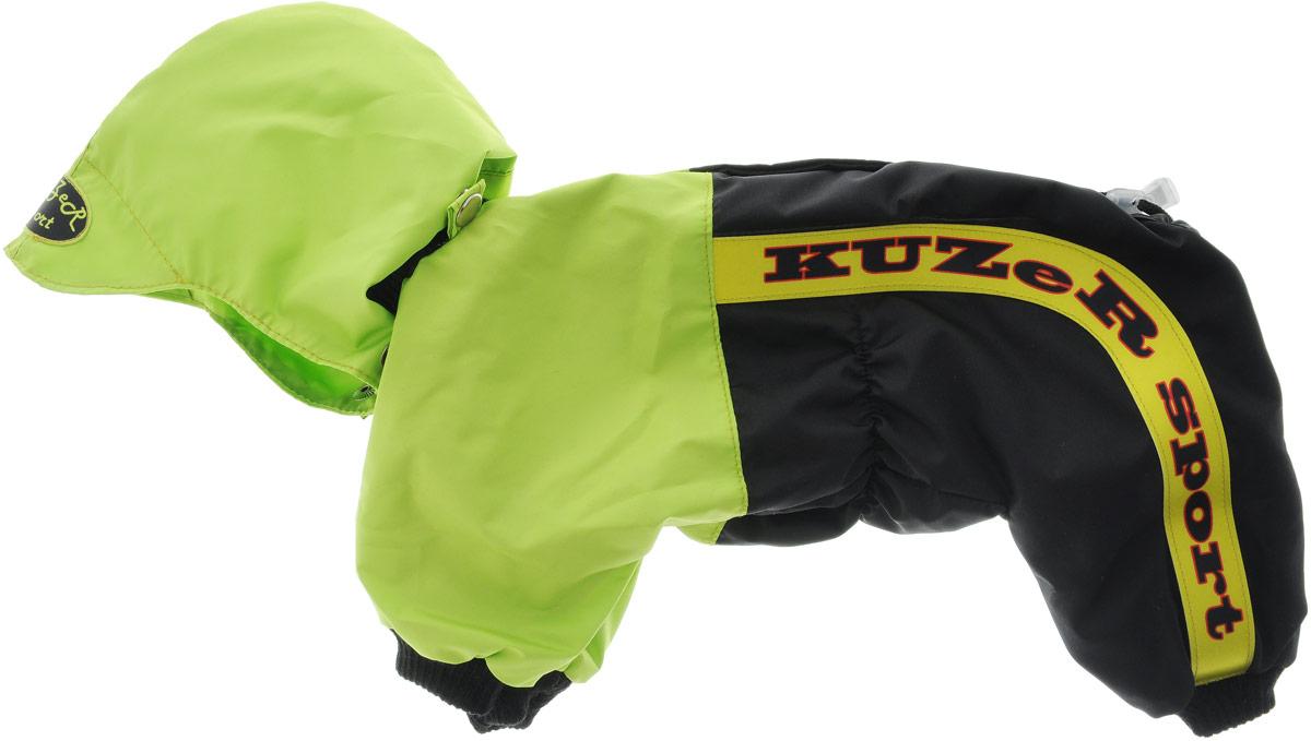 Комбинезон для собак Kuzer-Moda Пилот, для мальчика, двухслойный, цвет: черный, салатовый. Размер 23KZ002290Комбинезон Kuzer-Moda Пилот предназначен для собак мелких пород. Изделие отлично подойдет для прогулок в прохладную погоду.Комбинезон изготовлен из прочной ткани, которая сохранит тепло и обеспечит отличный воздухообмен. Комбинезон застегивается на кнопки, благодаря чему его легко надевать и снимать. Ворот, низ рукавов и брючин оснащены резинками, которые мягко обхватывают шею и лапки, не позволяя просачиваться холодному воздуху. На пояснице имеются затягивающиеся шнурки, которые также помогают сохранить тепло.Благодаря такому комбинезону простуда не грозит вашему питомцу, и он не даст любимцу продрогнуть на прогулке.Размер: 23.Обхват: груди: 36 см.Обхват шеи: 12 см.