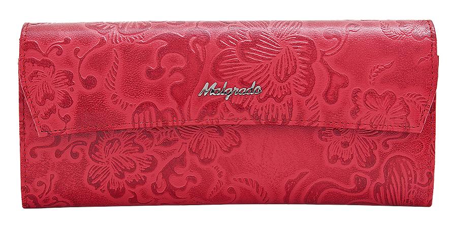 Кошелек женский Malgrado, цвет: красный. 75504-182021-022_516Стильный кошелек Malgrado изготовлен из натуральной кожи красного цвета с декоративным тиснением в виде цветов и вмещает в себя купюры в развернутом виде в полную длину. Внутри содержит семь основных отделений, одно из которых на молнии, девять кармашков для карточек, визиток или кредиток. С оборотной стороны расположен карман. Закрывается кошелек клапаном на кнопку.Кошелек упакован в подарочную металлическую коробку с логотипом фирмы. Такой кошелек станет замечательным подарком человеку, ценящему качественные и практичные вещи. Характеристики:Материал: натуральная кожа, текстиль, металл. Размер кошелька: 19,5 см х 9 см х 2,5 см. Цвет: красный. Размер упаковки:23 см х 13 см х 4,5 см. Артикул: 75504-18202.