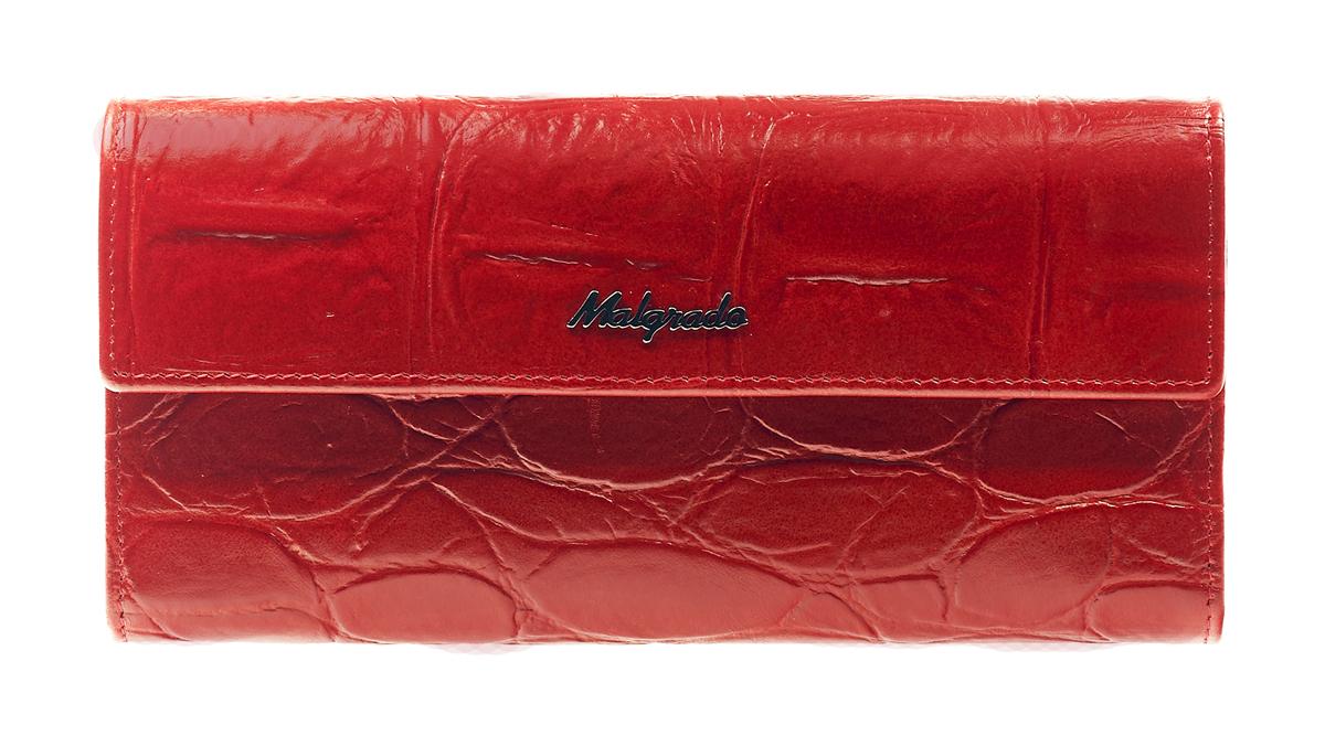 Кошелек женский Malgrado, цвет: красный. 72044-1-29102#BM8434-58AEСтильный кошелек Malgrado изготовлен из натуральной кожи красного цвета с декоративным тиснением и вмещает в себя купюры в развернутом виде в полную длину. Внутри содержит пять основных отделений, одно из которых закрывается на кнопку, внутри расположено десять кармашков для карточек, визиток или кредиток и одно с прозрачным окошком, одно горизонтальное отделение и еще одно отделение на защелке для мелочи. С оборотной стороны расположен карман на молнии. Закрывается кошелек клапаном на кнопку.Кошелек упакован в подарочную металлическую коробку с логотипом фирмы. Такой кошелек станет замечательным подарком человеку, ценящему качественные и практичные вещи. Характеристики:Материал: натуральная кожа, текстиль, металл. Размер кошелька: 18 см х 10 см х 3 см. Цвет: красный. Размер упаковки: 23 см х 12,5 см х 4,5 см. Артикул: 72044-1-29102#.